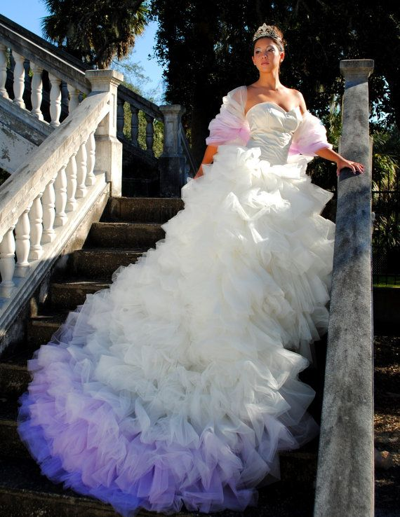 17 best images about frills ruffles on pinterest for Purple ombre wedding dress