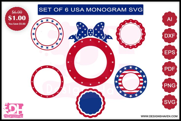 4th of July Monogram Svg, Eps, Png, Dxf (Graphic) by