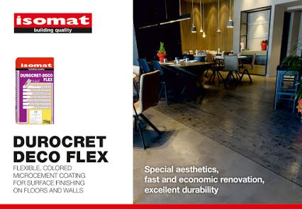 Discover DUROCRET-DECO FLEX, ISOMAT's new flexible, colored microcement coating for surface finishing on floors and walls, and earn a new ally in applications of incomparable design and outstanding resistance.