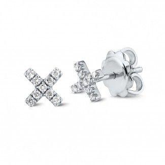 Pendientes de Diamantes en Oro Blanco - Pendientes XX en oro blanco con pequeños diamantes redondos