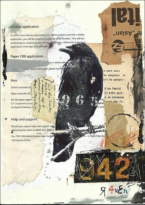 Print Art Ink Drawing Collage Black Bird Mixed Media Art Painting Illustration Gift Raven Crow  Autographed by artist Emanuel M. Ologeanu