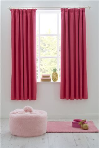 Bright Pink Blackout Pencil Pleat Curtains