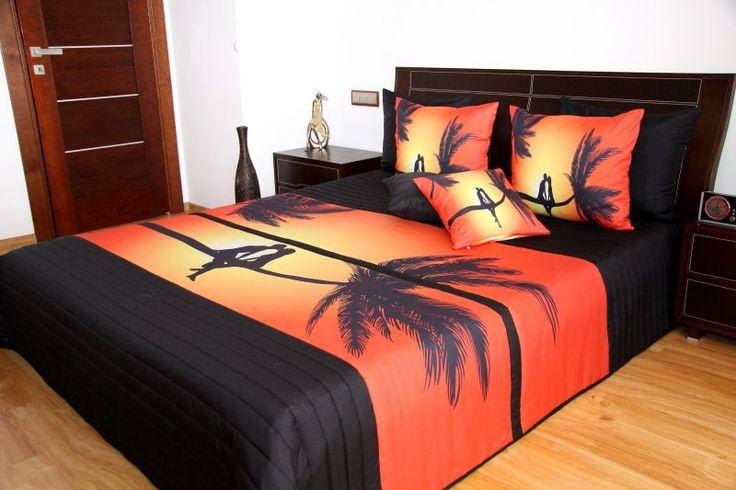 Oranžovo černý přehoz na dvojlůžko s palmou