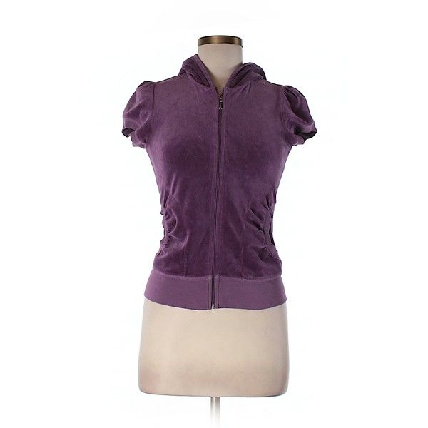 Pre-owned Juicy Couture Zip Up Hoodie Size 4: Purple Women's Tops ($29) ❤ liked on Polyvore featuring tops, hoodies, purple, zip up hoodies, purple hoodies, purple hoodie, zip up hoodie and purple top