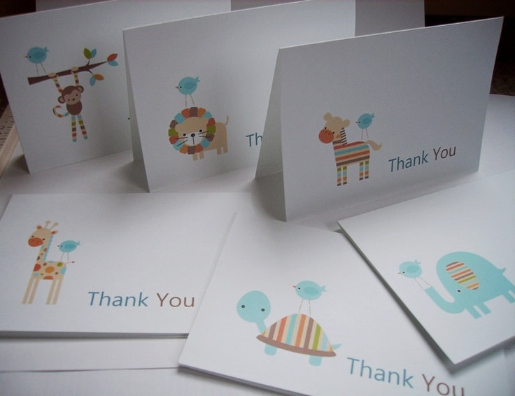 Baby Boy Shower Thank You Cards - Baby Boy Zoo Animals, Blue Safari Animals with Blue Baby Birds. $12.00, via Etsy.
