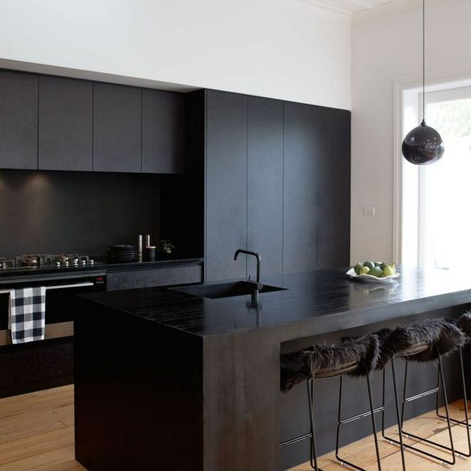 Black Cabinetry Black Stools Black Chandelier All Black
