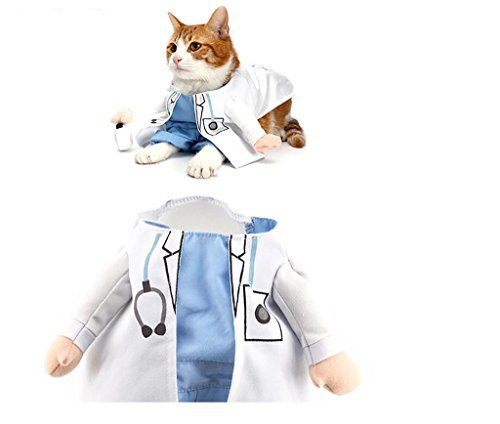 PetBoBo Pet Dog Cat Halloween Costume Doctor Costume Dog Jeans Clothes Cat Funny Apperal S