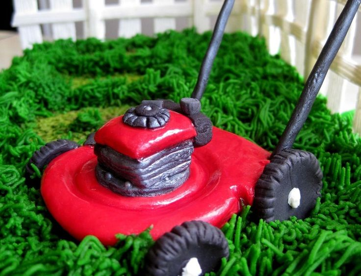 Father's Day Lawn Mower Cake. Fresh strawberry cake with fondant & buttercream grass, gumpaste lawn mower & fence, fondant...
