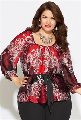 Plus Size Belted Antoinette Blouse | Plus Size Shirts & Blouses | Avenue