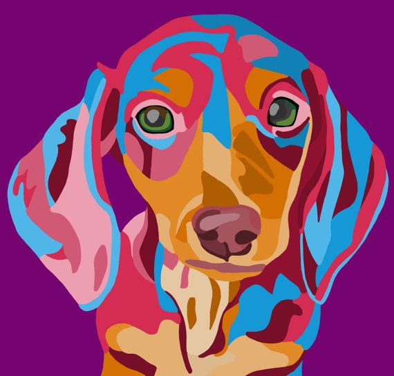 Dachshund Wall Art Digital Print Art 11x14 or 8x10 or 4x6 \ Available in 7 Background Colors on Etsy, $10.00