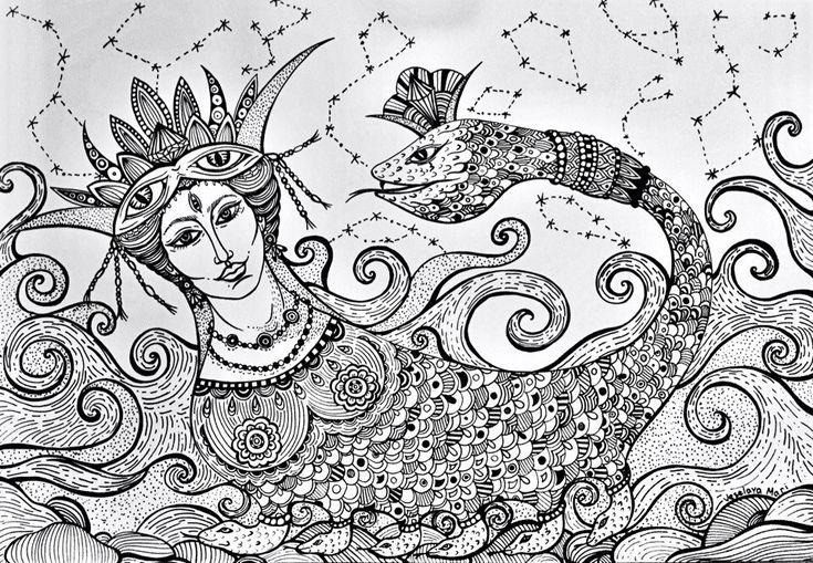 Шахмаран - королева змей. Женщина с телом змеи. Восточная легенда.   #MariVeselaya #Art #Dreams #Karbunkula #Shahmaran #Doodling #Snake