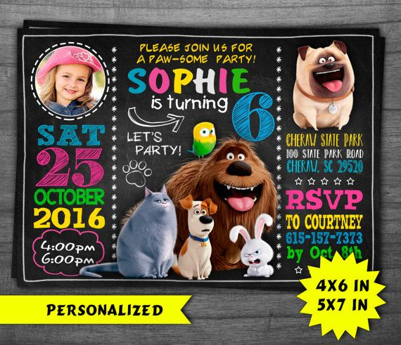 The Secret Life of Pets Invitation for Birthday Party  /Secret Life of Pets…