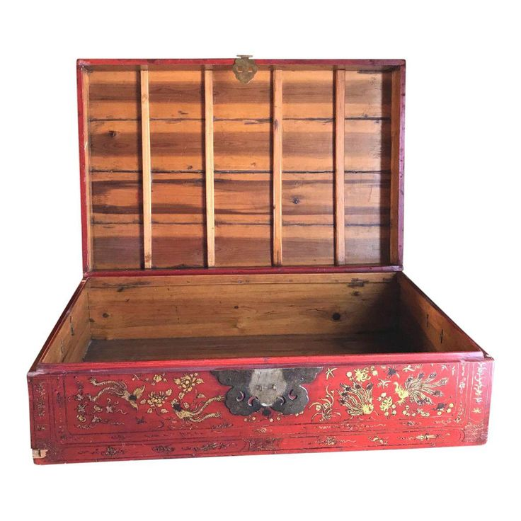 Red Asian Trunk, Vintage Wood Storage Box, Golden Roosters - Image 1 of 10