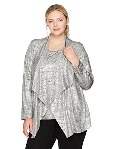75e2a7f03ab Fashion Bug Women s Plus Size Brushed Foil Printed Heather Jersey 2-Fer  Twinset