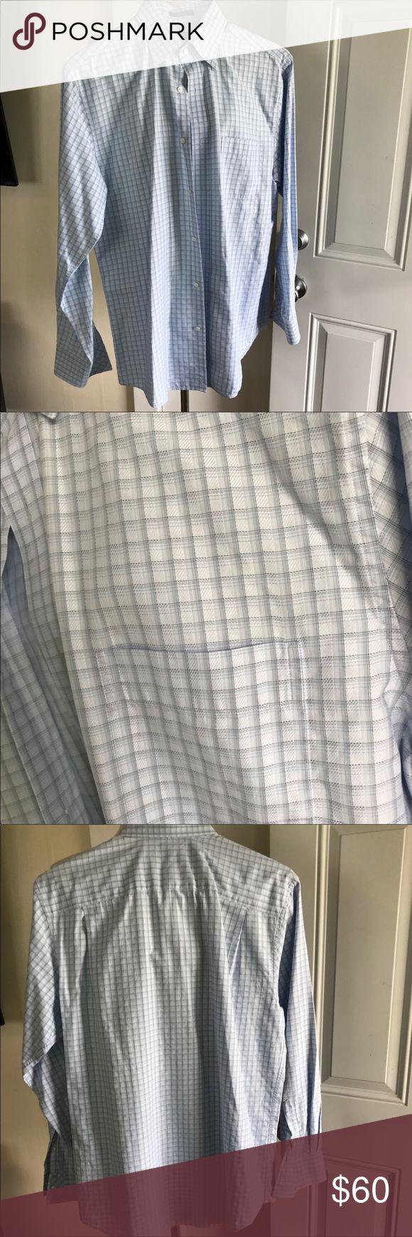 John W. Nordstrom signature plaid dress shirt New condition. John W. Nordstrom signature plaid dress shirt. Tasteful texturing defines a sharp dress shirt cut from Cotonifico Albini® cotton. White and blue plaid. Size medium. John W. Nordstrom Shirts Dress Shirts