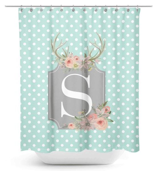 Floral Antlers Dots Monogram Shower Curtain
