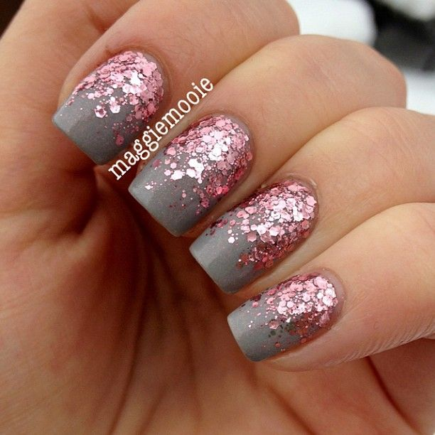 "Essence ""Grey-t To Be Here"" with Essie ""A Cut Above"" for the reverse glitter gradient. – by @maggiemooie"