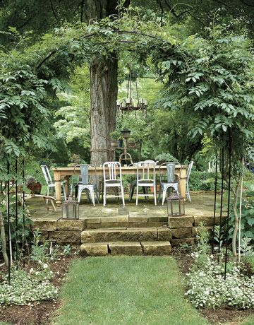 chairs, chairs, chairs!: Dining Rooms, Dining Area, Outdoor Dining, Chairs, Building Materials, Trees, Outdoor Spaces, Stones Patio, Outdoor Eating