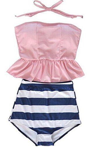 Tragarse Women Fashion Stripes Halter High Waist Swimsuit Bikini YY2 (Small, Pink1) Tragarse http://www.amazon.com/dp/B00XIYLANQ/ref=cm_sw_r_pi_dp_5P3uvb1H1B1RK