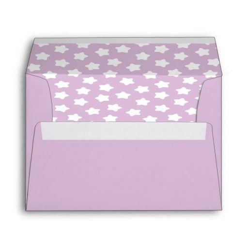 Cute Light Purple Pastel Star Lined A7 Envelope