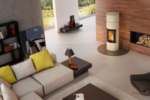 wood heating stove / contemporary / steel