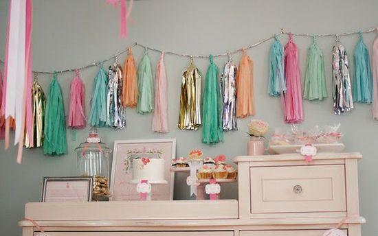 tassel-garland: Shower Ideas, Tassel Garland, Parties, Tassels, Garlands, Tissue Paper, Diy, Party Ideas, Baby Shower