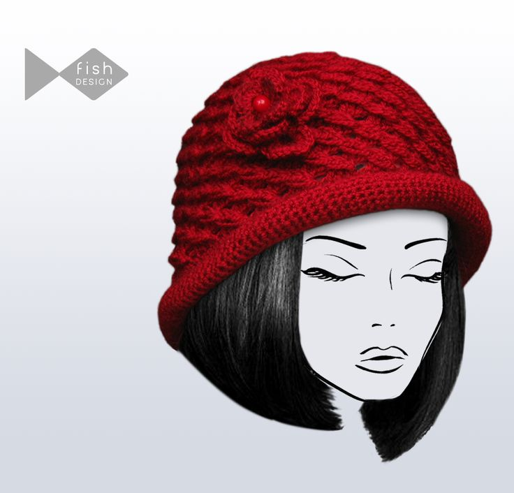 Knitted Hat for Women with Floral Accessory
