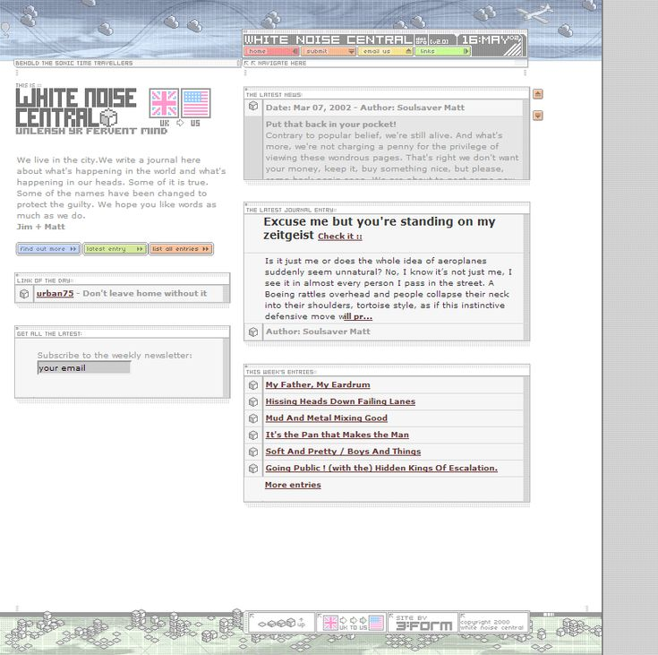 White Noise Central website in 2002