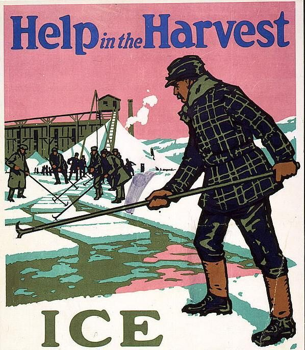 Recruitment poster for ice harvesters, Boston, US.