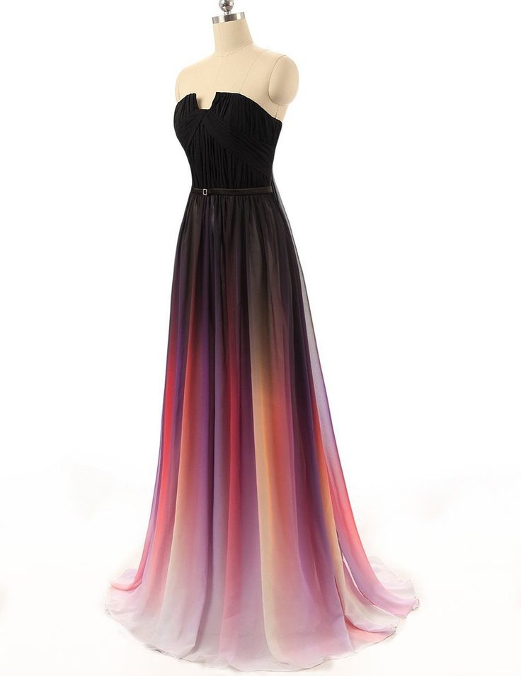 Autoalive Women's Gradient Ombre Chiffon Homecoming Dresses 2015 Prom Dress Strapless (2)