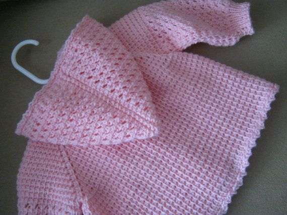 Pink Crochet Baby Sweater with Hood 0-3 by ForBabyCreations