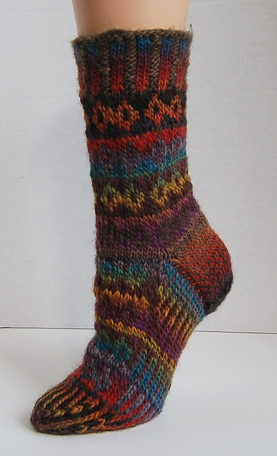 DrLaura's Jefferson's Jewel ~ this pattern knit for a med - large womans foot but think the sizing could be adapted ~ would look great on our guys
