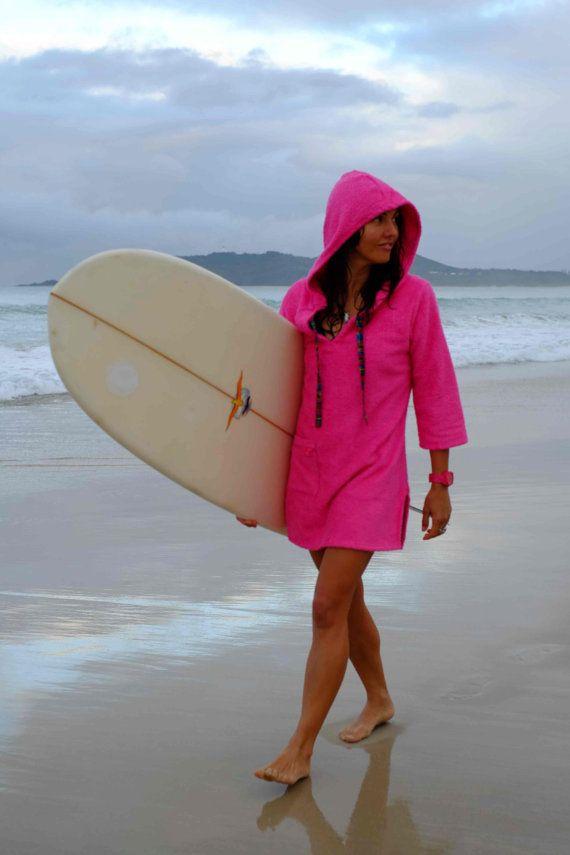Toweling dress  womens surf swim changing robe hooded poncho