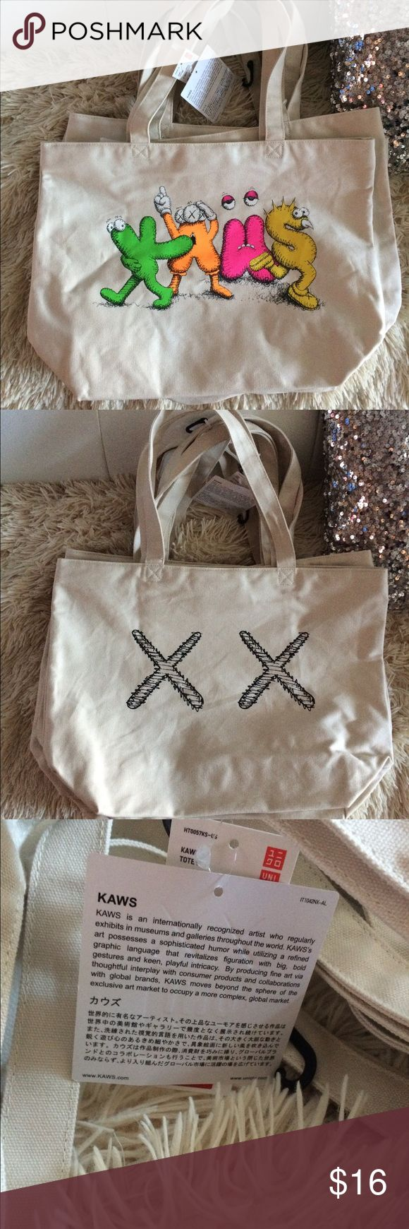Kaws X Uniqlo Tote Bag Cream Beige Brand new, never worn. Tags are attached. Kaws X Uniqlo Tote Bag. Uniqlo Accessories Hats