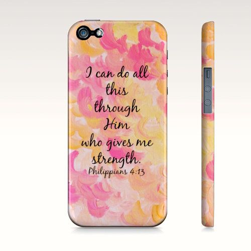 I Can Do All This Through Him  Christian iPhone 4 4s 5 5s 5c Hard Plastic Cell Phone Case, Protective Cover by EbiEmporium, $40.00