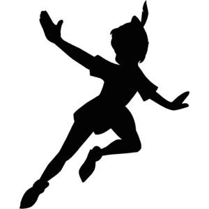 Peter Pan flying Silhouette 12.25x15 Vinyl Decal Wall Art Cu ...