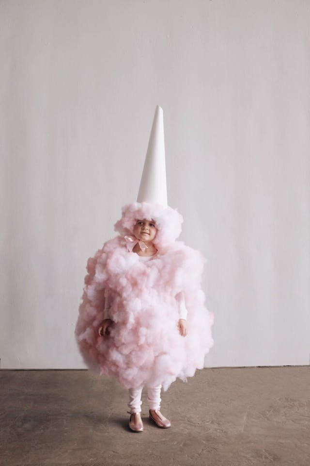 Make your little munchkin shine on Halloween with these 6 easy DIY Halloween costumes for kids. All these food costumes for kids are cute, adorable and super easy to make. While this cotton candy costume looks to be complicated, it's easy. This soft costume is created with a pink top and bottom that can be purchased and then attach the pink fiber fil to create the cotton candy look. No-sew whatsoever.