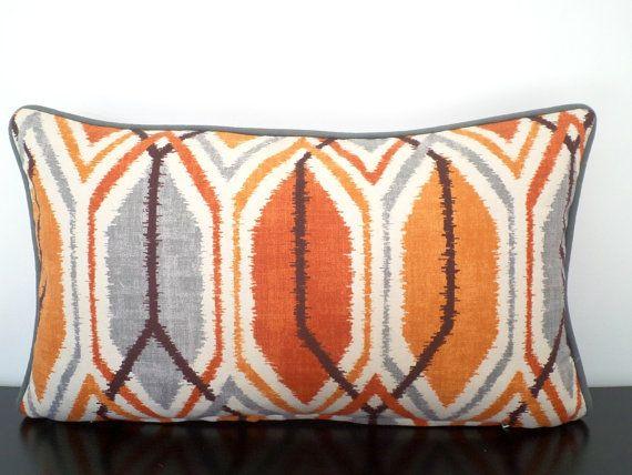 Gray ikat  pillow cover 21x11, burnt orange couch pillow, small lumbar pillow, medallion sofa cushion orange and gray geometric pillow