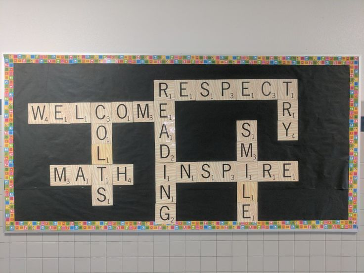 Welcome back first day of school bulletin board with Scrabble letters