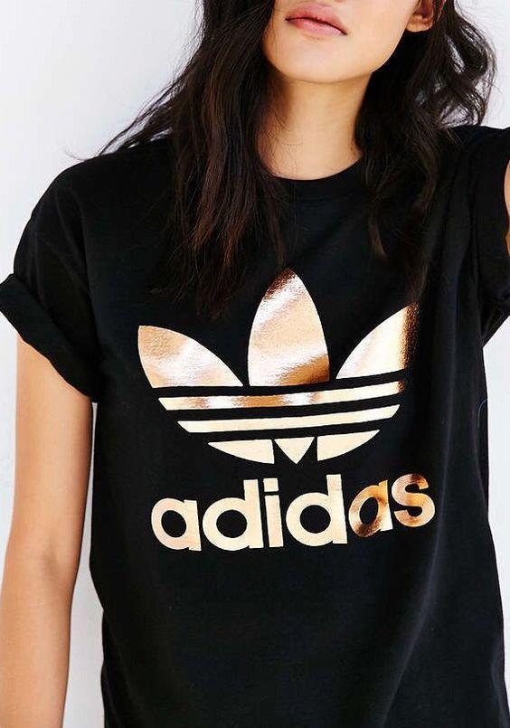 Adidas Rose Gold Double Logo Tee : Adidas Black Tee via Urban Outfitters  tshirt, graphic tee, rose gold, gold, adidas, logo tee, casual outfit, outfit, black
