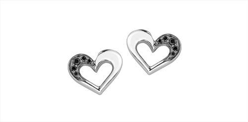 Enhanced Black Diamond Heart Earrings
