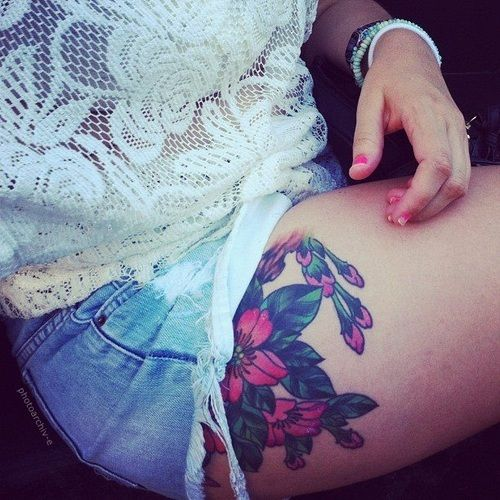 thigh tattoo | Tumblr  I love the placement.