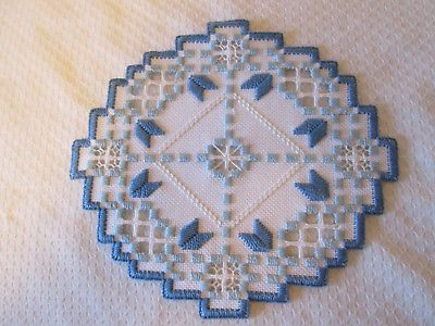 Hardanger Doily Norwegian Embroidery White - blues
