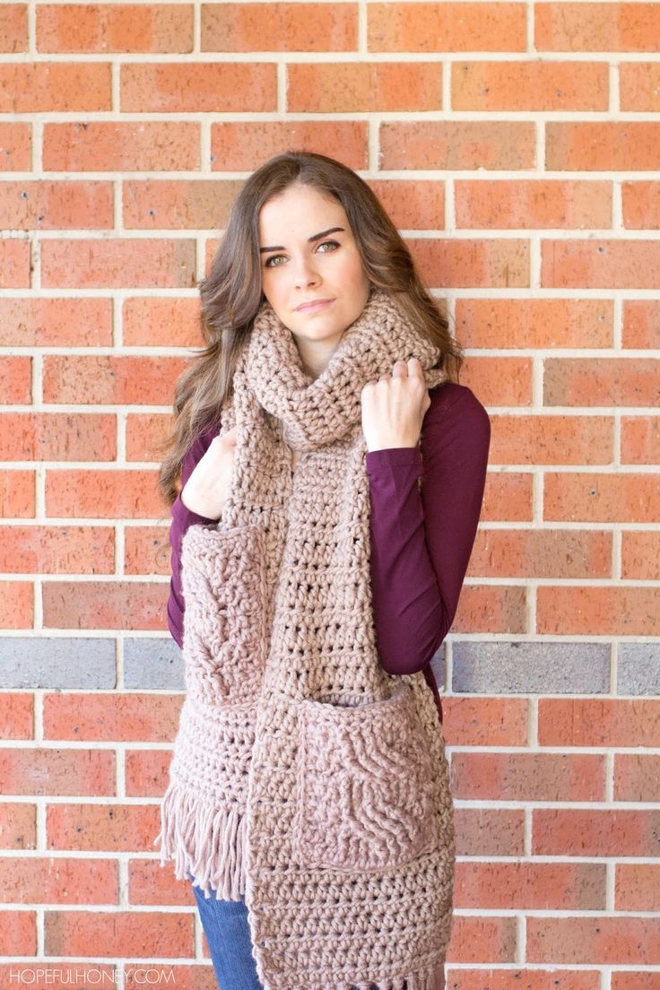 Oversized Scarf with cabled pockets - Free Crochet Pattern - includes video tutorial on the cable stitch