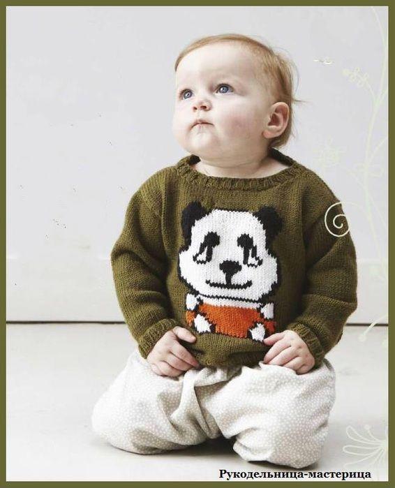 Озорные петельки: Пуловер с пандой.