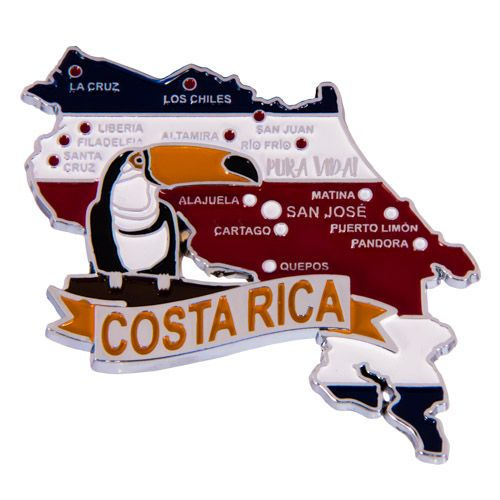 Metal Fridge Magnet: Costa Rica. Map of Costa Rica (Chrome Plating and Enamel)