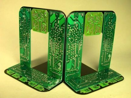 Geek it Up  Hot glue circuit boards to bookend bases for this cool look.  Visit more images at Etsy shop Debby Arem  This makes me think of your husbands @KD Eustaquio Kinnear @drew covi and Theresa Turner