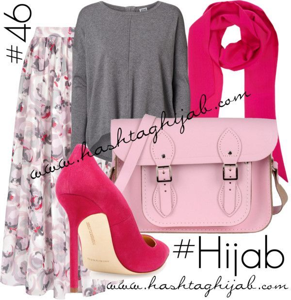 Hijab Fashion 2016/2017: Hashtag Hijab Outfit pink grey floral  Hijab Fashion…