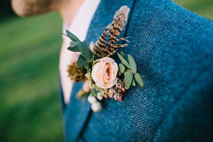 Grooms Button Hole with Pheasant Feather & Peach Rose | Peach Colour Scheme | Kelmarsh Hall Country Wedding Venue | Images by Chris Barber Photography | http://www.rockmywedding.co.uk/ellen-ollie/