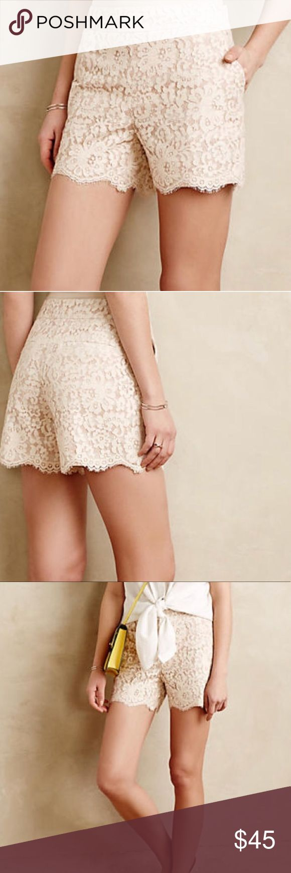 """New cartonnier Scalloped lace shorts Anthropologie Cartonnier cream lace shorts with a scallop edge and subtle peach striped underlining. Zips and buttons closed at the side. Fully lined. Condition is new with tags with no flaws. SIZE: 6. Waist across 14.5"""" hips across 19"""" rise 10.5"""" inseam 4.5"""" Anthropologie Shorts"""